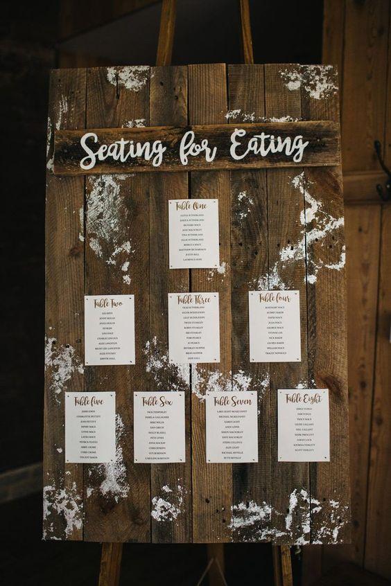 stylish and creative winter wedding seating chart ideas