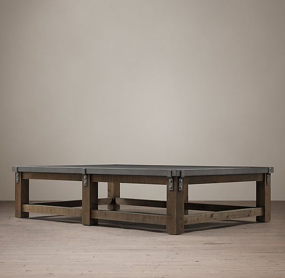 Reclaimed wood u0026 zinc strap square coffee table for Mesas grandes
