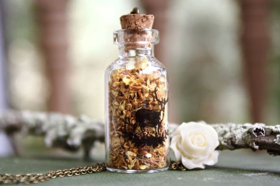 Meadow - Real Flower Bottle Necklace - Botanical Glass Bottle, Dainty Romantic Deer - Whimsical Nature Inspired Jewelry