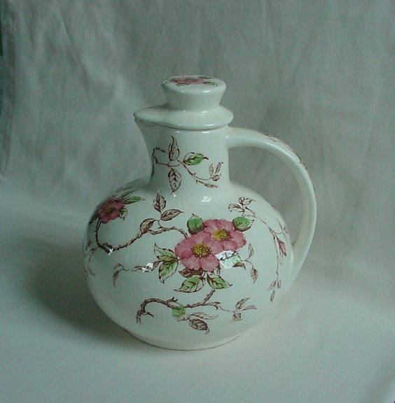 GORGEOUS Vintage Nasco 'Springtime' Lovely Pink Flowers Tea Jug Pitcher Decanter #Nasco