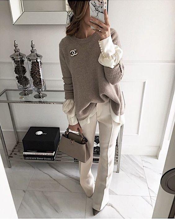стильный сексуальный образ Блузка шёлковая серая кофта джемпер серый цвет в одежде сочетание серого и белого брошь деловой образ