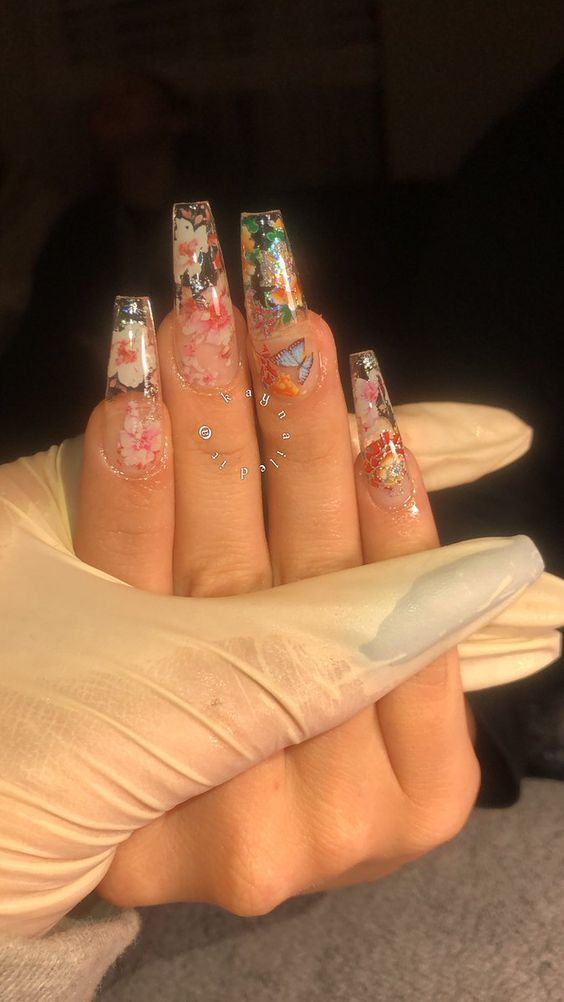 Pin By Mae Utley On Aesthetic In 2020 Long Acrylic Nail Designs Long Acrylic Nails Floral Nails