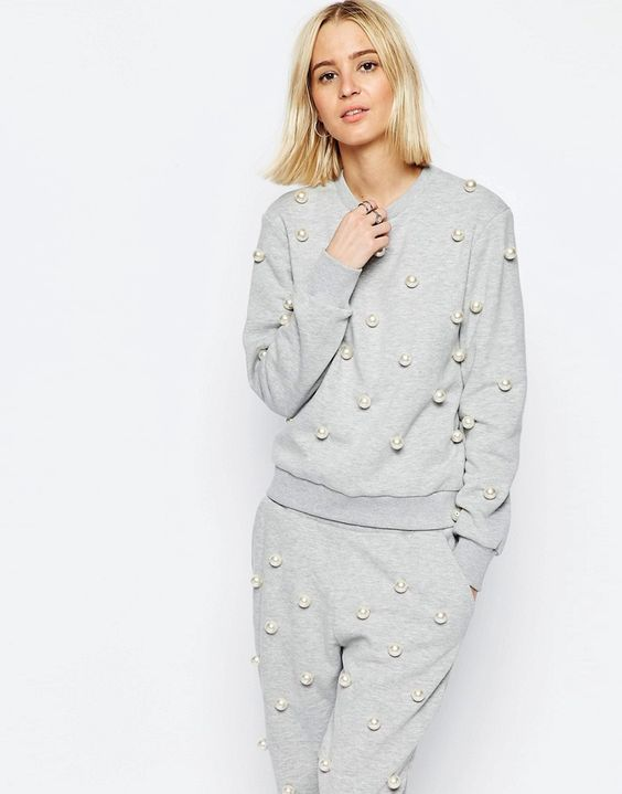 Image 1 of ASOS WHITE Pearl Embellished Sweater