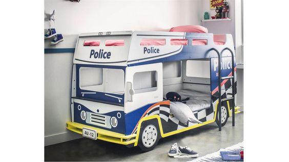 Epic Etagenbett BUSSY POLICE Kinderbett Polizeibus in blau und wei Einrichtungsideen Pinterest Police