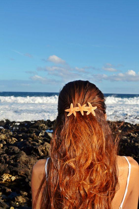 Triple Starfish Mermaid Barrette by HeavenlySea on Etsy SANTA PLEASE GET ME THIS...;)