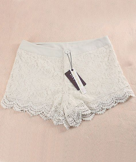 White Button Fly Lace Hollow Shorts - Sheinside.com