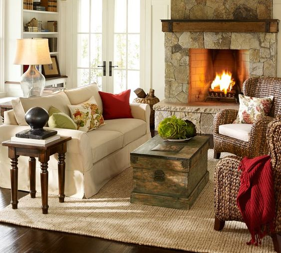 Love Living Room Fireplace Seagrass Wingback Armchairs Pottery Barn Decorating Ideas