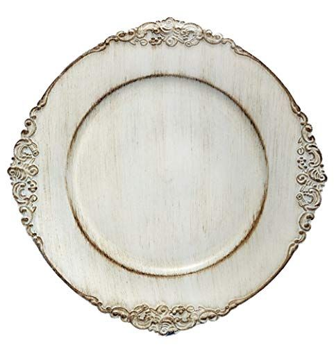 Tiger Chef 6 Piece 13 Inch Royal Antiqued White Round Vin Https Www Amazon Com Dp B07m Antique Charger Plates Rustic Charger Plates Vintage Charger Plates