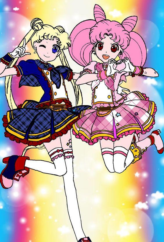 Usagi and Chibi Usa Aikatsu Style by DakotaLOrange