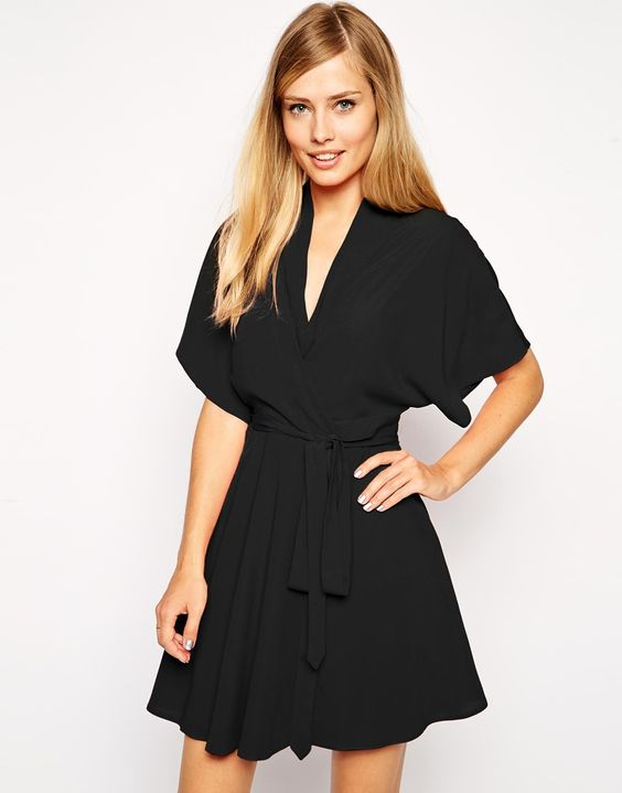 ASOS Skater Dress with Kimono Sleeves and Fixed Waist