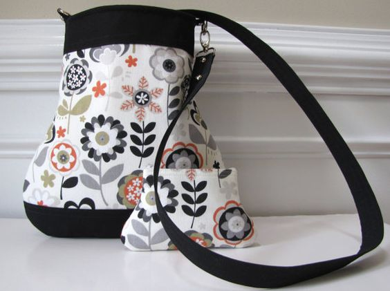 Grey Flower Crossbody Bag/Sling Bag with Matching Curvy Coin Pouch