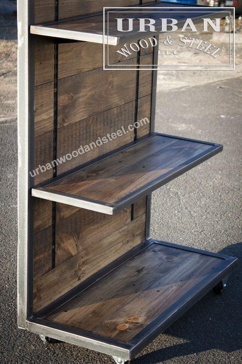 Industrial Reclaimed Pine Display With Adjustable Shelves Urban Wood Steel Llc Adjustable Shelving Wood Steel Pvc Furniture Plans