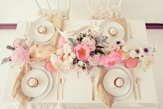 pinks and golds! LOVE this centerpiece: Pink Wedding, Centerpiece, Table Setting, Tablescape, Green Wedding