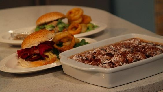 It's Friday! And what better way to celebrate the start of the weekend than with a fabulous family feast!   Phil Vickery is here with loaded homemade burgers, crispy onion rings and a decadent creamy chocolate brioche pudding with chocolate ice cream and bitter chocolate sauce.