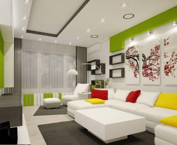 Wohnzimmer Lebendig Farben Wand Deko Idee Frisch Modern