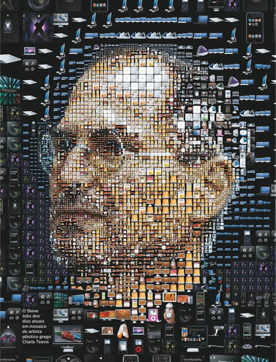 picture collage of all Apple's products, creating Steve Jobs