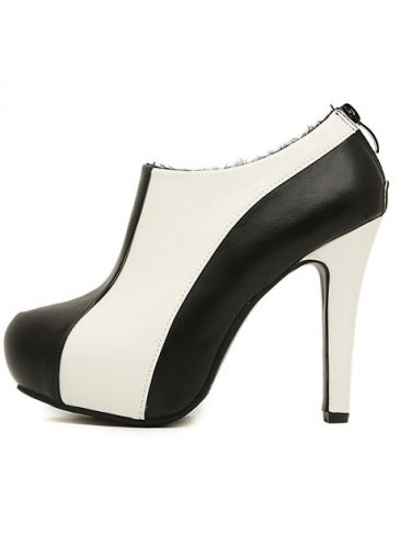 Round Toe White Patchwork Black High Heels on sale only US$19.73 ...