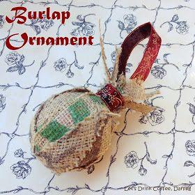 DIY Scrappy Burlap Christmas Ornament #burlap #christmas #diy #letsdrinkcoffeedarling