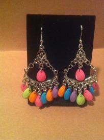 Multi Color Dangle Bead Chandelier Earrings Free Ship No Slice fees!