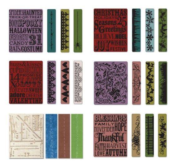 4 Prägeschablone SIZZIX Embossing Folder TIM HOLTZ Big Shot BORDÜREN 51 in Möbel & Wohnen, Hobby & Künstlerbedarf, Basteln | eBay