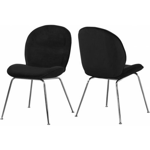 Black Velvet Mid Century Accent Dining Chair Silver Legs Set Of 2
