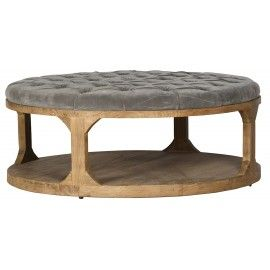 Grey Velvet Tufted Round Coffee Table Ottoman Rustic Decorating Ideas Custom Wood Furniture