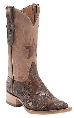 Black Jack Mens Dark Brown Hand Tooled with Pearl Maddog Top Double Welt Square Toe Western Boots