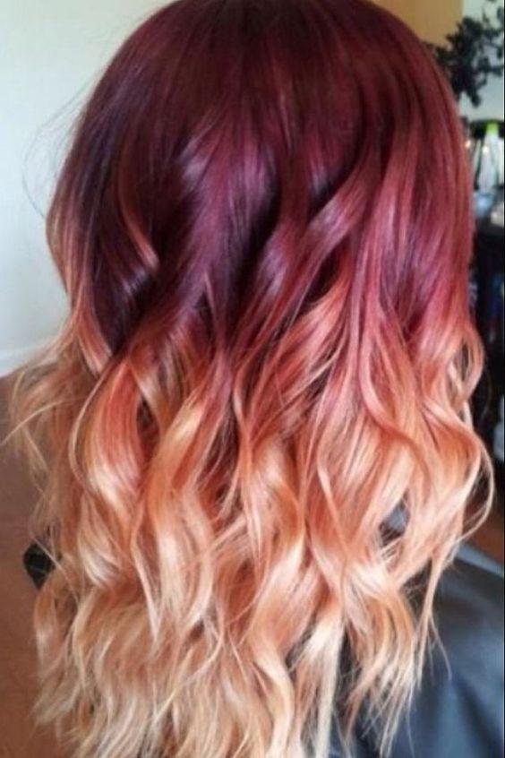 Red Violet Peach Ombre Hair Auburn Ombre par NinasCreativeCouture, $250.00#GarnierSweeps