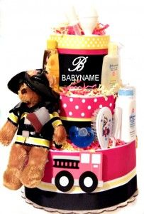 Baby Boys Firefighter Shower Diaper Cake   My Pink Baby Boutique