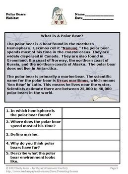 Polar Bears Unit Winter Worksheets & Activities | Reading ...