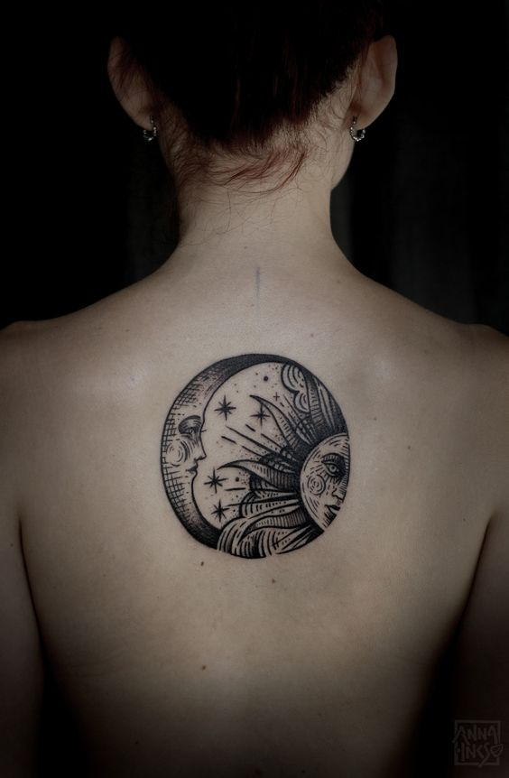 Crescent moon and sun middle back tattoo  #Tattoos #Inked #SunAndMoon