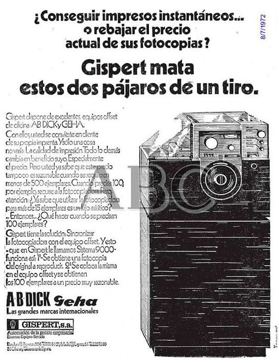 Equipos offset AB Dick y Geha. Gispert. Año 1972.