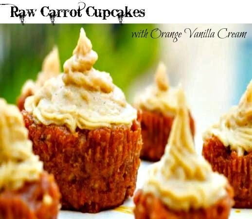 Raw Carrot Cupcakes with Orange Vanilla Cream. These are healthy and delicious. #carrotcupcake