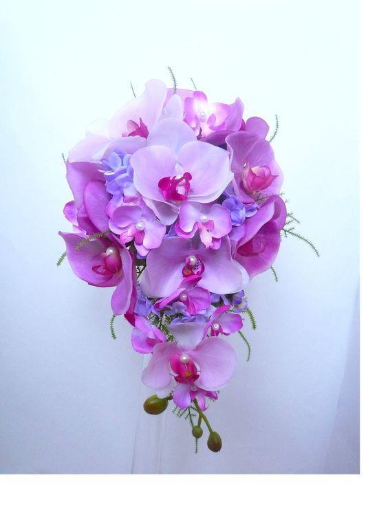 Bouquet de mariée orchidée rose violet parme teardrop forme de larme fleur artificielle et la boutonnière (ref-bouquet-t003) : Autres accessoires par fleur-angelique