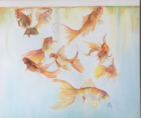 Pecera con peces dorados Óleo sobre algodón
