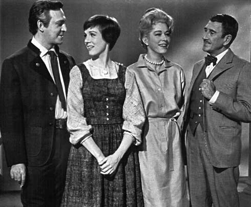 Christopher Plummer (Georg Von Trapp), Julie Andrews (Maria Von Trapp), Eleanor Parker (Baroness Elsa Schraeder) and Richard Haydn (Max Detw...