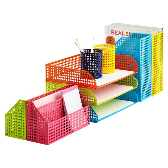 Container store letter tray and the container on pinterest for Decorative stacking letter trays