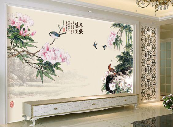 d coration murale papier peint tapisserie asiatique paysage avec les bambous les fleurs et les. Black Bedroom Furniture Sets. Home Design Ideas