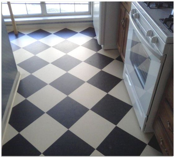 Cooking the o 39 jays and the black on pinterest for Black lino kitchen flooring