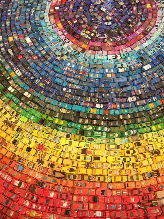 Mosaic made of 2,500 Toy Cars by David T. Waller.