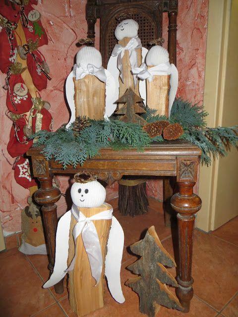 Weihnachtsengel, Holzscheit