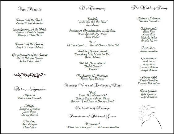 free printable wedding programs templates | ... templates many ...