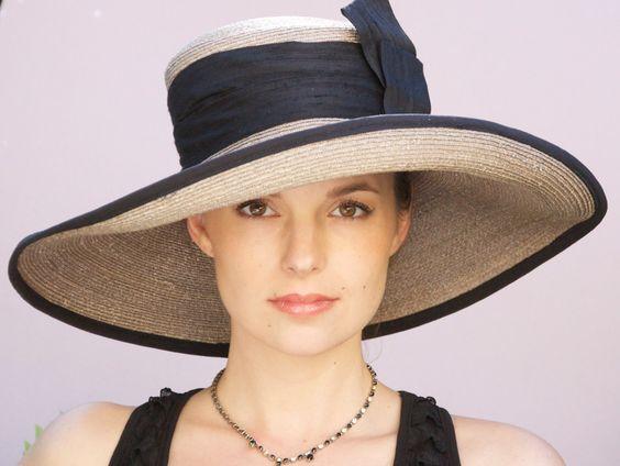 Taupe Gray Straw Wide Brim Hat. Kentucky Derby Hat.  Wedding Hat, Derby Hat, Church Hat Formal Hat. Black Silk Sash & Trim. $125.00, via Etsy.