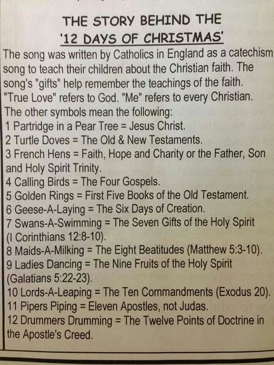 12 days of christmas catholic symbols for baptism