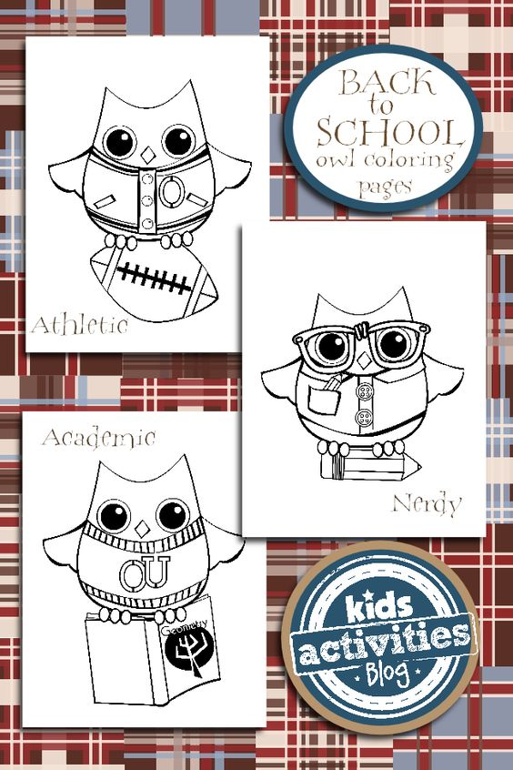 Back to School Coloring Pages Owl