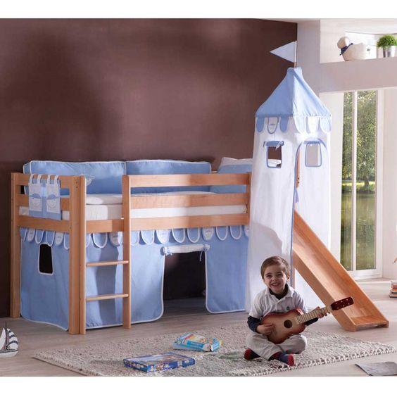 Kinderhochbett  Kinderhochbett in Blau-Weiß Rutsche Jetzt bestellen unter: https ...