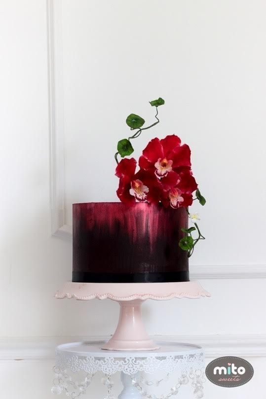 This wondrously romantic, oxblood-colored one. | 24 Spectacular One-Tier Wedding Cakes