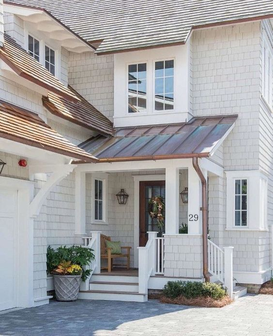 Shingle Roof Cooper Tin Roof White Layered Siding Simply Beautiful Blue Modern Farmhouse Exterior House Paint Exterior Exterior Paint Colors For House