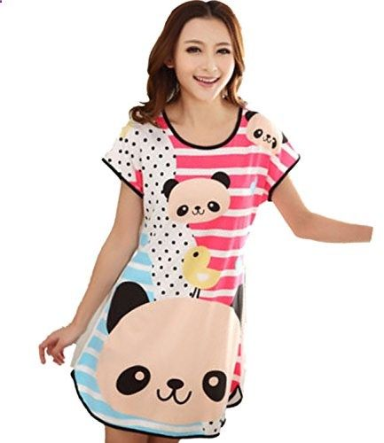 Summer Sexy Women Cartoon Cotton Night Skirt Pajamas Sleeping Dress (Green). Check website for more description.