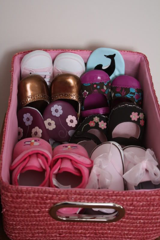 Organize her shoes... cute maybe in sea foam and brown...to match his nursery